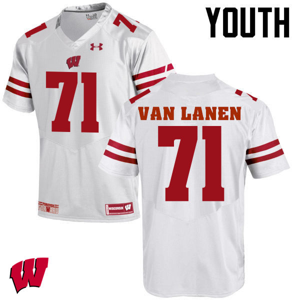Youth Wisconsin Badgers #71 Cole Van Lanen College Football Jerseys-White